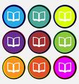 Open book icon sign Nine multi-colored round vector image