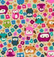 cute owls and ditsy flowers vector image