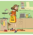 Angry woman cooking in the kitchen vector image