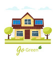 eco house with solar panels vector image