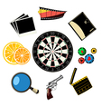 Travel and games icons vector image