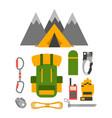climbing trekking equipment set vector image