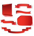 set of six red realistic paper banners vector image