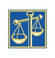 scales of justice set inside a square vector image