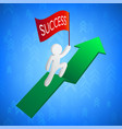 3d man with success flag on green arrow vector image