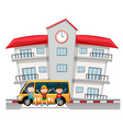 Children and school van at the school vector image