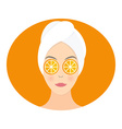 Flat design of a woman with mask of orange on her vector image