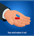 isometric mans hand with red and blue pills vector image