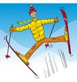 man jump on ski cartoon vector image