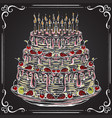 birthday cake on the chalkboard vector image
