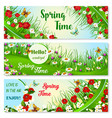banners with spring time greeting quotes vector image