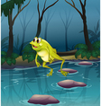 A frog jumping at the pond inside the forest vector image
