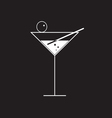 martini glass on black vector image