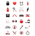 Black red healthy lifestyle icons set vector image vector image