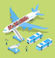 Aircraft interior with passengers isometric vector image