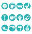 bathroom necessary elements in round logo signs vector image