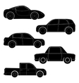Set of car silhouettes vector image