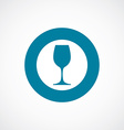 wineglass icon bold blue circle border vector image