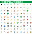 100 corporation icons set cartoon style vector image