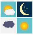 Weather Icons with Sun Cloud Rain and Moon vector image vector image