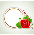 Decorative round banner with red rose vector image