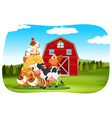 Farm animals in the field vector image
