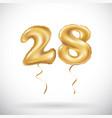 golden number 28 twenty eight metallic balloon vector image