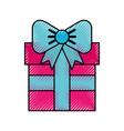 scribble cute fuchsia gift cartoon vector image