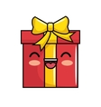 red gift kawaii smile icon vector image