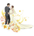 bride and groom dancing floral background vector image