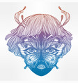 elf girl face with butterfly wings for eyes vector image