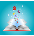 Opened book with letters vector image vector image