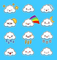 emoji clouds cute smily clouds with faces vector image