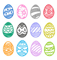 Easter eggs collection isolated on white vector image
