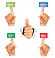 set of hands pushing different buttons vector image