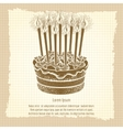 Vintage poster with birthday cake vector image