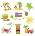 Hawaii Beach Vacation Related Set Of Objects vector image
