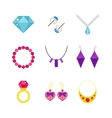 Set of cartoon jewelry accessories vector image