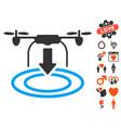 drone landing icon with love bonus vector image
