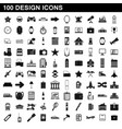 100 design icons set simple style vector image