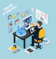 augmented reality workplace isometric composition vector image