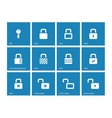 Locks icons on blue background vector image