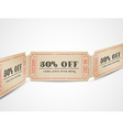 vintage sale coupons vector image vector image