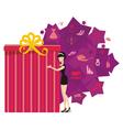Big present for woman purple vector image
