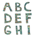 Hand drawn artistic font from lines letters A-I vector image