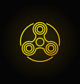 Hand triple spinner yellow icon vector image