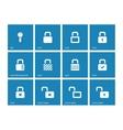 Locks icons on blue background vector image