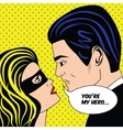 Man and woman in black superhero mask love couple vector image