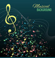 Multicolor musical notes staff background vector image