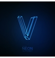 Neon 3D letter V vector image